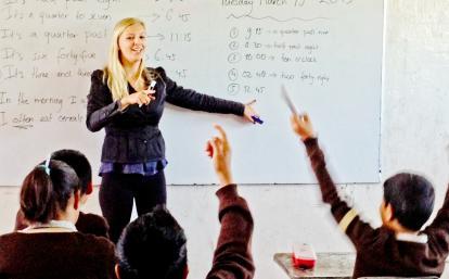 メキシコの学生への英語教育に取り組むボランティア
